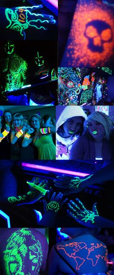 I've never been a hardcore party person so I'm not surprised that I had never heard of black light highlighter parties. I wish I had a black light at my house to test it out! I'd love to try this black light stencil tattoo tutorial Dance Themes, Blacklight Party, Sweet Sixteen Parties, Dream Party, 18th Birthday Party, Neon Glow, Glow Party, Partys, Baby Shower