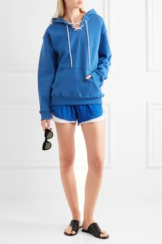 Koza - Surfy Surfy Appliquéd Cotton-blend Jersey Hooded Top - Bright blue - x large