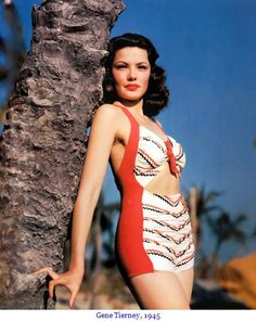 Wait...why can't we have bathing suits like this anymore??  also I love the hair!     Gene Tierney