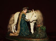 "OOAK miniature sculpture ""Farewell to the Unicorn"" fantasy fairytale unicorn princess friendship miniature miniature sculpture romance la Doll glowing patterns renaissance white horse europeanstreetteam 420.00 USD #goriani"