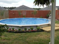 Inexpensive Above Ground Pool Landscaping Ideas how to decorate around an above ground swimming pool   ground