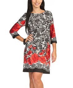 Look what I found on #zulily! Black & Red Rose Shift Dress #zulilyfinds