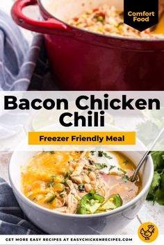 The Bacon Chicken Chili recipe is easy to prepare and made with delicious fresh ingredients, including bacon, chicken breasts, broth, and Roma tomatoes. Warm and full of flavor, this wholesome chicken chili is sure to become a family favorite dinner. Chicken Soup Recipes, Chicken Chili, Chicken Bacon, Chili Recipes, Pre Cooked Chicken, How To Cook Chicken, Freezer Friendly Meals, Chili Soup, Roma Tomatoes
