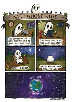 Neil Slorance for The Sad Ghost Club 2016 A strip I made for The Sad Ghost Club, re-posting for Take care of yourselves pals x - Site Today Ghost Comic, Are You Happy, Just For You, Depression Awareness, Sad Drawings, Cheer Up, Club, Photo Quotes, Illustration Art