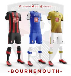 Premier League Concept Kits - All Premier League Kits Redesigned By Qehzy - Footy Headlines Football Team Kits, World Football, Premier League Teams, Afc Bournemouth, British Football, Sport Outfits, Wetsuit, Soccer, Concept