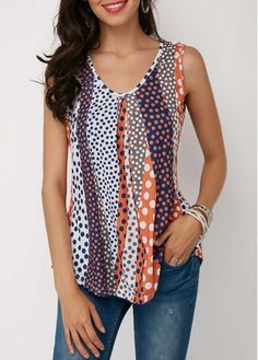 totally outside my box, but I do love this top. Shop Womens Fashion Tops, Blouses, T Shirts, Knitwear Online Polka Dot Print, Polka Dots, Trendy Tops For Women, Casual Skirt Outfits, How To Roll Sleeves, Printed Tank Tops, Ladies Dress Design, Cute Tops, Shopping