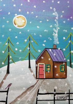 Snowfall 5x7inch ORIGINAL Canvas Panel PAINTING Cabin Bird FOLK ART Karla G #FolkArtAbstractPrimitiveLandscape