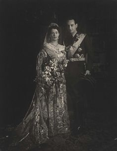 Wedding portrait of Prince Louis Ferdinand of Prussia and Pss Kira Kirillovna of Russia. 1938