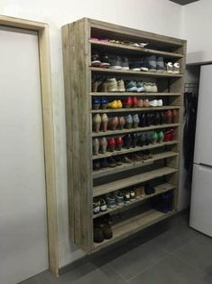 Shoe Rack and Shoe… Shoe Storage Diy, Storage Shelves, Storage Ideas, Outdoor Shoe Storage, Food Storage, Entryway Storage, Closet Shelves, Diy Shoe Shelf, Rack Shelf
