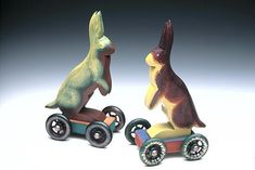 Fancy Wheel Rabbits by Dona Dalton: Wooden Sculpture available at www.artfulhome.com