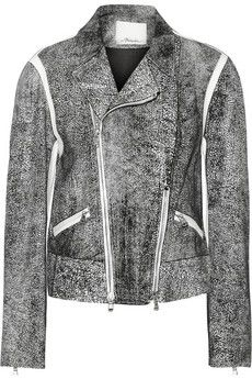 3.1 Phillip Lim Cropped speckled leather biker jacket | THE OUTNET