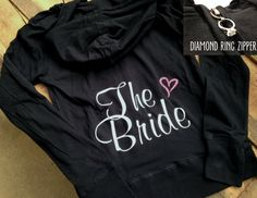 Bride Hoodie Custom Personalized Bride Zip Up by DeighanDesign, $46.00