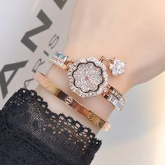 Wristwatches Quartz-Watches High-Grade Women's Watch Stainless Steel Flower dial Full drilling Luxury Super Flash