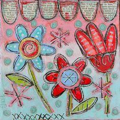 Sweet Little Mixed Media Folk Art Floral Painting. $30.00, via Etsy.