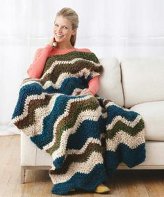 Homespun® Thick & Quick® Spa Garden Ripple Afghan (Crochet)