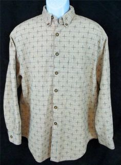 TERRITORY AHEAD Tan Geo Long Sleeve Button Front Casual Dress Shirt  Mens LARGE