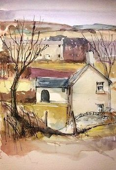 Original Water Colour and ink Painting 'North Country Farm'. Signed.