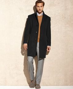 Calvin Klein Solid Plaza Cashmere-Blend Over Coat
