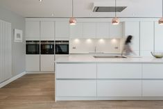 white kitchen with ceiling extractor fan Island Extractor Fan, Kitchen Extractor Fan, Extractor Fans, Extractor Hood, Kitchen Diner Extension, Open Plan Kitchen Diner, Open Plan Kitchen Living Room, Howdens Kitchens, Handleless Kitchen