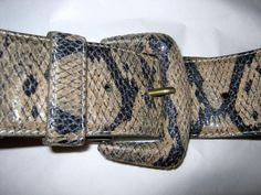 """Ladies Womens Blue Animal Print Snakeskin Faux Leather Belt 34/"""" To 38/"""" Inch"""