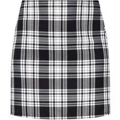 Black Check A Line Mini Skirt ($38) ❤ liked on Polyvore featuring skirts, mini skirts, checkered skirt, short skirts, a line mini skirt, sports skirts and checked skirt