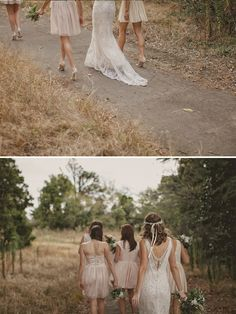 The nude or beige colored bridesmaids dresses is another idea. They would look great with the brown cowgirl boots and you can then use a lot of accent colors. Just a thought.