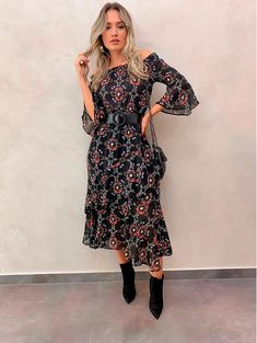 Casual Work Outfits, Fall Outfits, Vestidos Country, Boho Fashion, Fashion Outfits, Womens Fashion, Dress With Boots, Dress Up, Stylish Dresses