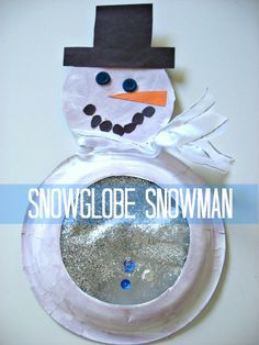 snowglobe snowman.  Use the cut out center of a paper plate for the face.  Contact paper to hold the sparkly belly contents