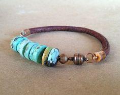 Turquoise Leather Copper Bracelet unisex by ChickpeaDesignStudio