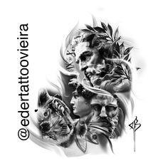 Elbow Tattoos, Sleeve Tattoos, Cool Tattoos, Tattoo Sketches, Tattoo Drawings, Art Sketches, Greek And Roman Mythology, Greek Gods, Chest Tattoo