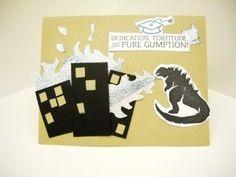 Godzilla stamp carved by Gloria Bowden