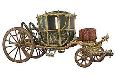 Vis-à-vis carriage for two, Circa 1762, Paris, Wood, iron, steel, bronze, leather, glass, silk, mother of pearl; forging, casting, chasing, woodcarving, gilding, inlay work, quilting, painting, weaving, embroidery. In the 18th century the expression vis-à-vis was used to describe a carriage with a body for two passengers who sat face to face. The Hermitage carriage is of exceptional artistic and historical value. Presented to Empress Catherine II in 1762.