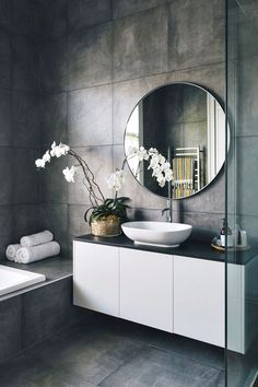 Home Decor Cozy 46 Luxurious Furniture To Upgrade Your Elegant Bathroom bathroom .Home Decor Cozy 46 Luxurious Furniture To Upgrade Your Elegant Bathroom bathroom Grey Bathrooms, Modern Bathroom, Small Bathroom, Bathroom Ideas, Bathroom Organization, Bathroom Mirrors, Bathroom Plants, Bathroom Goals, Master Bathrooms