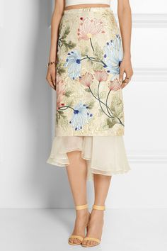 Biyan | Mirea embroidered brocade and silk-organza midi skirt | NET-A-PORTER.COM
