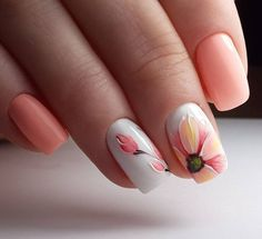 Peachy Summer nail art nails nail art summer nails manicure nail ideas nail designs nail pictures
