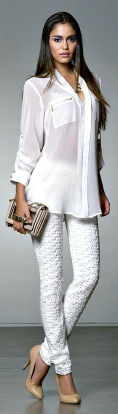 Love all white. Looks great with a nude pump but a pop of color in the shoe would be great too.