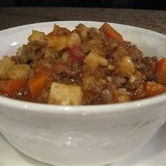 "Hopi Corn Stew By: Mike Pellerin ""Got this recipe from an anthropologist friend in Arizona, and given the use of canned product, it is said to date to the to early Spicy and hearty! Serve with hot tortillas. American Dishes, American Food, Native American Recipes, Soup Recipes, Cooking Recipes, Hominy Recipes, Recipies, Healthy Recipes, Chili Recipes"