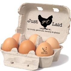 Custom Egg Carton Stamp - Just Got Laid Stamp - Chicken Egg Carton Label - Personalized Egg Cartons with Chicken Names - Chicken Coop Sign by SouthernPaperAndInk on Etsy