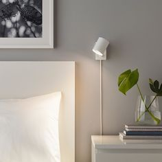 Bedroom Lamps, Bedroom Lighting, Ikea Bedroom, Master Bedroom, Bedroom Ideas, Bedroom Decor, Bedroom Wall Lights, Narrow Bedroom, Apartment Lighting