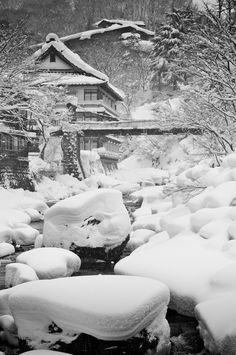 The River, Takaragawa Onsen, Gunma, Japan I Love Winter, Winter White, Winter Is Coming, I Love Snow, Snow Scenes, Winter Scenes, Glacier, Winter Season, Winter Beauty