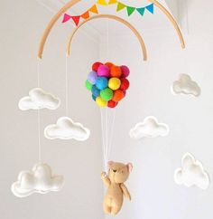 Baby Mobile teddy bear flying rainbow balloons clouds crib mobile Woodland Nursery Decor Baby Shower newborn gift Up and away Wool Felt – baby toys Bloğ Flying Balloon, Balloon Clouds, Rainbow Balloons, Rainbow Bunting, Rainbow Baby, Newborn Gifts, Baby Gifts, Ballons Pastel, Diy Bebe