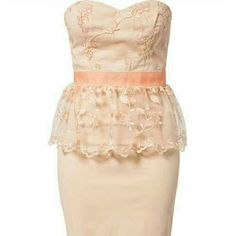 Elise Ryan Peach Peplum Dress Size L NWOT Size large Elise Ryan peach and pink lace peplum dress. No tags, but this dress has never been worn. Elise Ryan Dresses