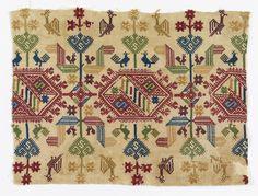 Benaki Museum, Textiles, Blackwork, 18th Century, Hand Embroidery, Folk Art, Primitive, Needlework, Bohemian Rug