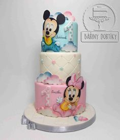 Mickey and Minnie - cake by Bára Cetkovská - Bářiny dortíky Bolo Mickey, Mickey And Minnie Cake, Mickey Cakes, Twin Birthday Cakes, Mickey Mouse Birthday, Torta Baby Shower, Torta Minnie Mouse, Twins Cake, Cakes For Twins