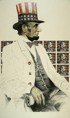 LINCOLN WITH FLAG by TOMAS LASANSKY  Drawing/Colloage 77 x 47 Faust Gallery - Santa Fe