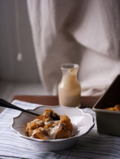 Pumpkin Bread Pudding with Maple Cream Cheese Sauce
