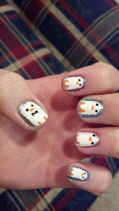 Colorful penguin nails