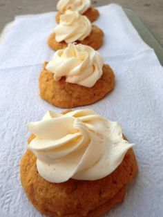 Pumpkin White Chocolate Chip Cookies with cream cheese Frosting!
