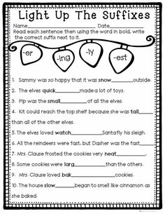 Light Up the Suffixes is a fun ans easy page for students to practice adding the suffixes -er, -ing, -ly, and -est to words to complete the sentence. Part of a December Literacy and Math No Prep Bundle for Second Grade. 2nd Grade Grammar, Third Grade Writing, Teaching Second Grade, Grade Spelling, First Grade Reading, 2nd Grade Homework, Teaching Time, Teaching Ideas, Suffixes Worksheets