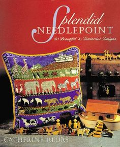 """This 1996 book includes well-illustrated charts for: Noah's Ark pillow, Valentine Heart frame, Ring of Roses cushion, Cherubs & Stars pillow, Hanukkah wall hanging, Christmas ornaments, Tulip coasters, Cat refrigerator magnets, and precious Baby Booties! The Kazak Checkbook Cover chart was done by one of our clients and may be seen on the """"Gallery"""" page of our website!  ISBN 1-887374-22-1"""
